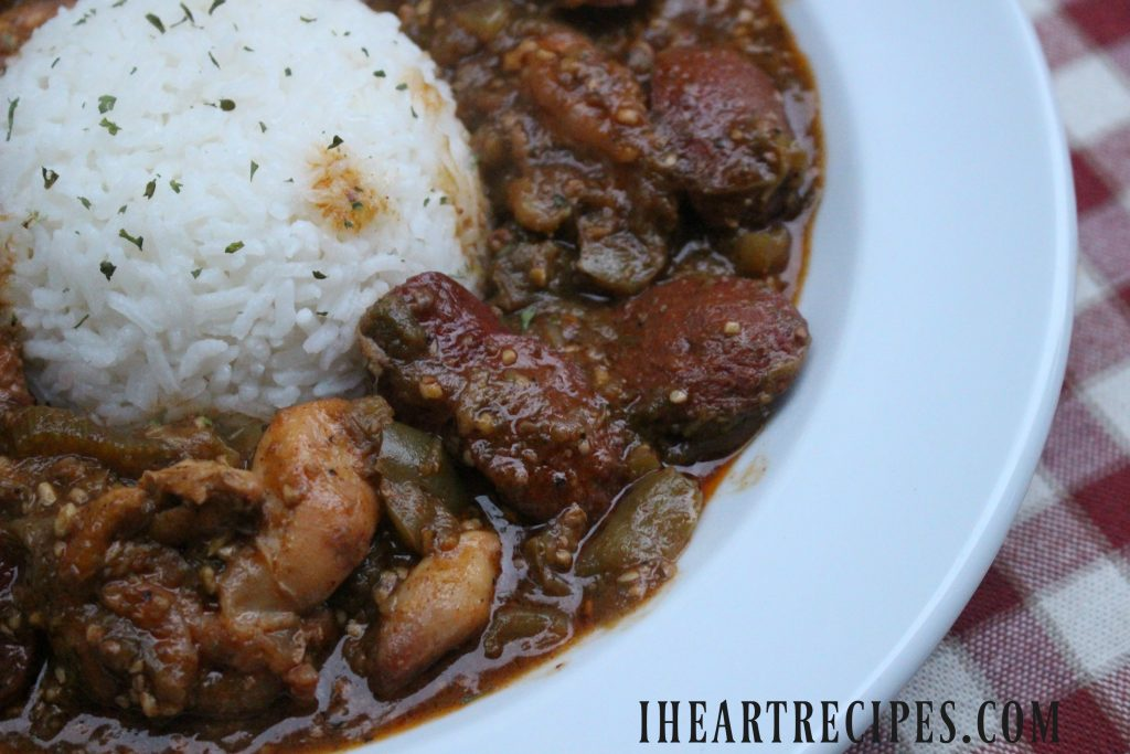 Smothered Okra with Chicken, and Sausage served with white rice