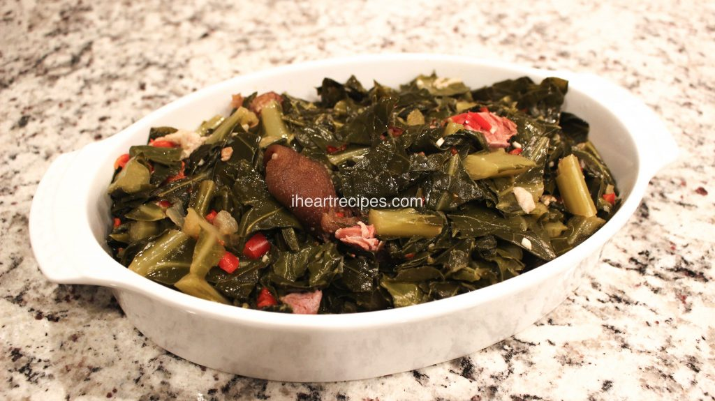 Southern style collard greens made with ham hocks and seasoned with garlic and onions.
