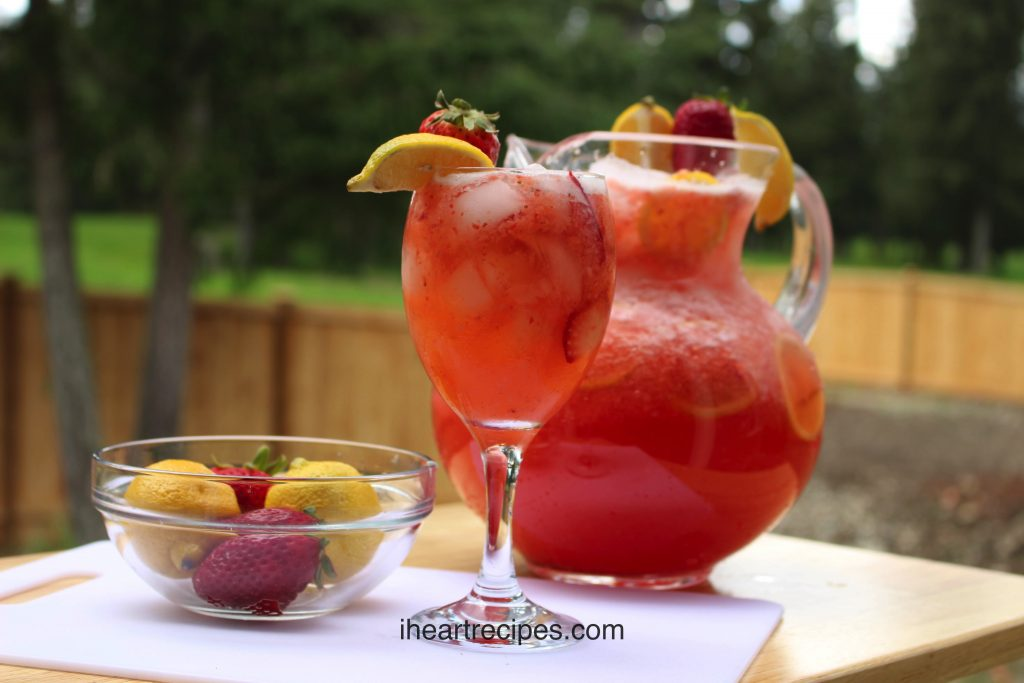 Make this fresh and sweet strawberry lemonade for your next pool party for a sweet summer treat.