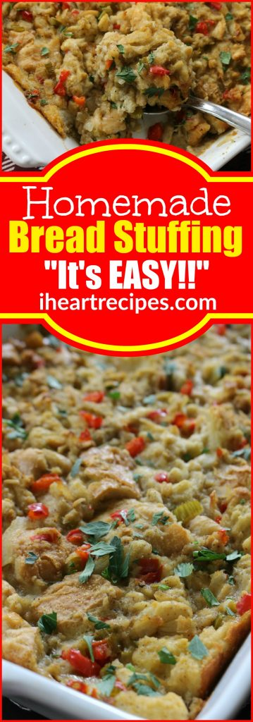 Easy Homemade Bread Stuffing with Turkey or Chicken