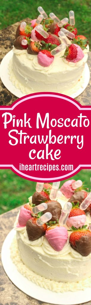 Pink Moscato Strawberry Cake | I Heart Recipes