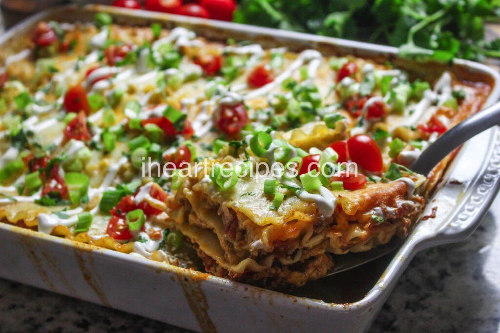Perfectly seasoned ground turkey layered between tender lasagna noodles