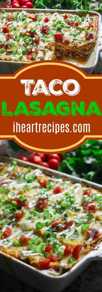 Perfectly seasoned taco lasagna made with ground turkey