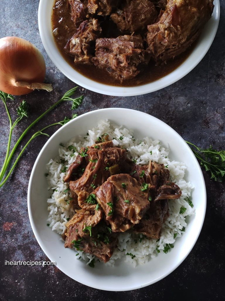 smothered turkey necks in a hearty gravy, cooked in a pressure cooker for extra tender and juicy meat