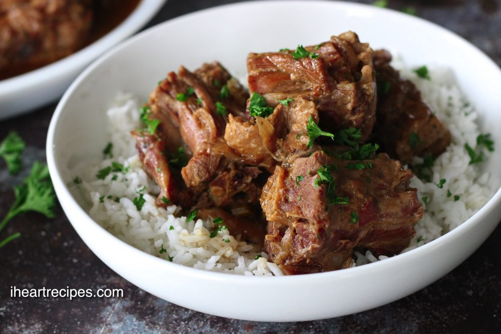 tender smothered turkey necks cooked to perfection in a pressure cooker
