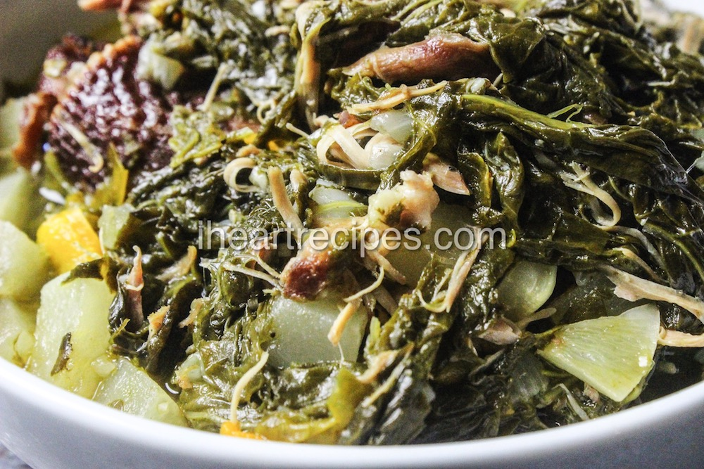 Delicious turnip greens with smoked turkey and cabbage.