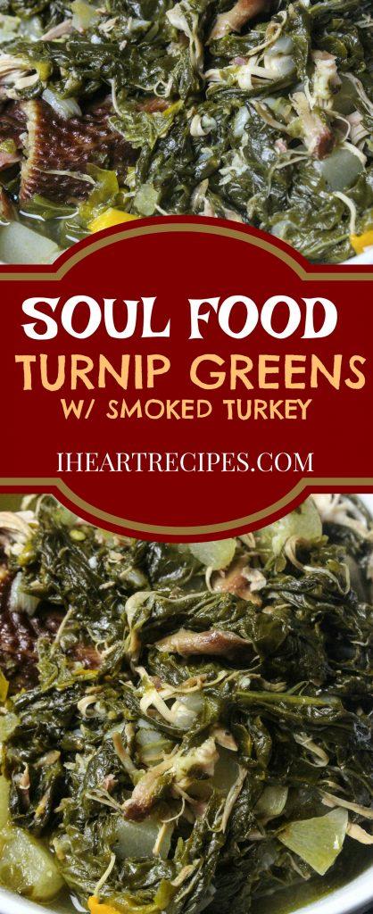Soul food style turnip greens with smoked turkey