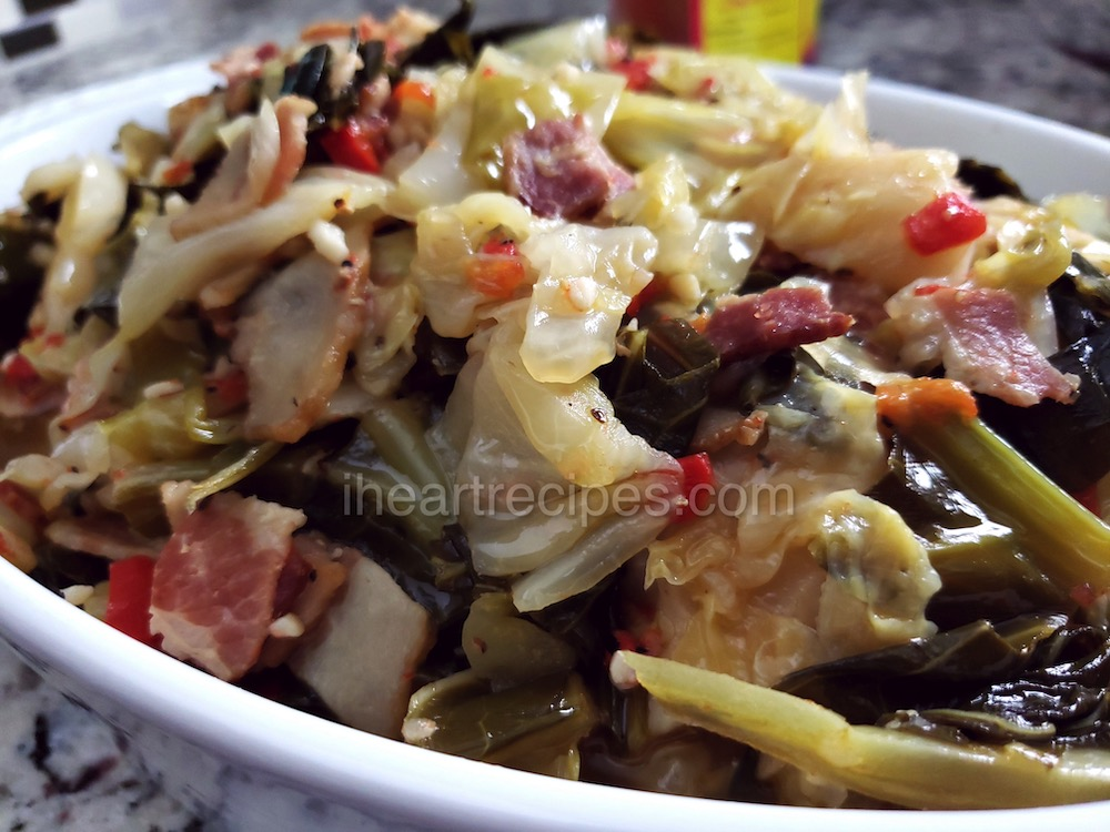 Tender cabbage and collard greens sauteed with onions, garlic, and crisp bacon