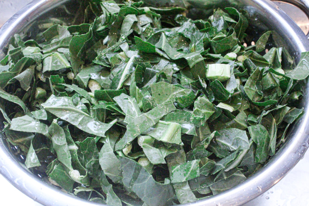 Use fresh cut greens for this recipe, and make sure they're well-washed before cooking